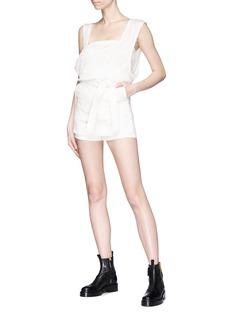 YAJUN Belted twill apron shorts