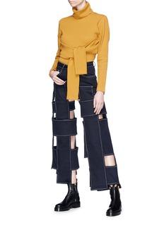 YAJUN Cutout patchwork twill culottes