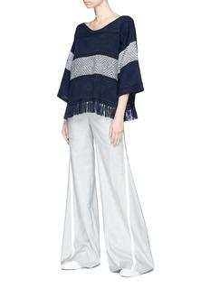 Matilde Tassel diamond jacquard poncho sweater