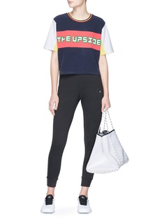 The Upside Logo velvet flock print colourblock cropped T-shirt