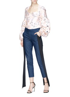 HELLESSY 'Louise' button puff sleeve star print satin blouse