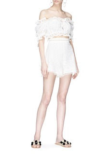 Zimmermann 'Lumino Daisy' broderie anglaise off-shoulder cropped top