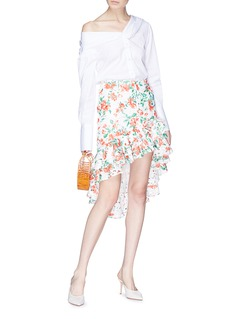 Caroline Constas Asymmetric tiered ruffle floral broderie anglaise skirt