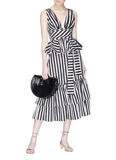 Caroline Constas Tiered ruffle stripe voile skirt