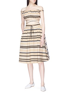 JW Anderson Two-in-one stripe belted off-shoulder patchwork dress