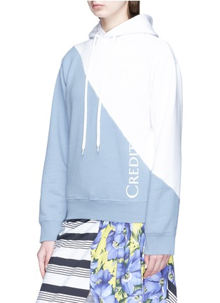 Front View - Click To Enlarge - Vetements - National anthem print colourblock unisex hoodie