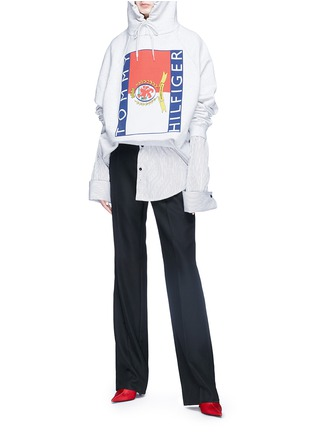 Figure View - Click To Enlarge - Vetements - x Tommy Hilfiger logo print oversized unisex hoodie