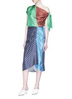 Tibi 'Delphina' colourblock stripe ruched silk twill midi skirt