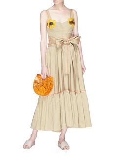 Silvia Tcherassi Tirenia花卉拼贴系带连衣裙