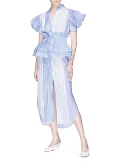 Silvia Tcherassi Soragna条纹格纹泡泡袖府绸衬衫裙