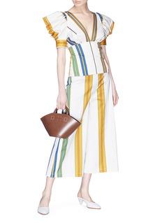 Silvia Tcherassi Turin拼色条纹深V领蝴蝶袖上衣
