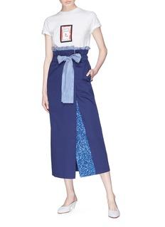 Silvia Tcherassi Viserba亮片拼接条纹蝴蝶结高腰半身裙