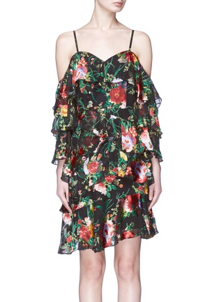 Main View - Click To Enlarge - alice + olivia - 'Florentina' floral burnout ruffle cold-shoulder chiffon dress
