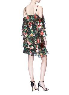 alice + olivia 'Florentina' floral burnout ruffle cold-shoulder chiffon dress