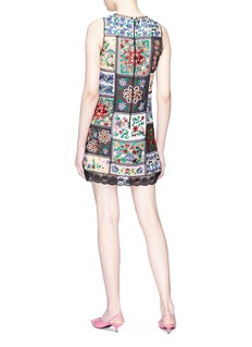 alice + olivia 'Marcelina' floral embroidered patchwork tunic dress