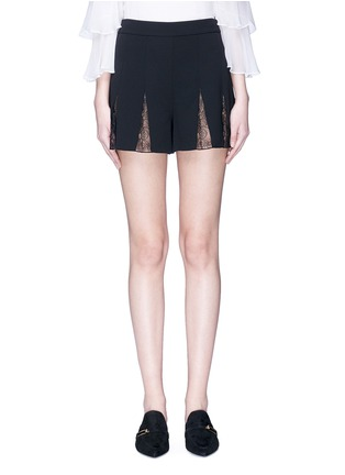 Main View - Click To Enlarge - alice + olivia - 'Ronan' floral guipure lace godet crepe shorts