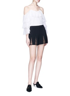 alice + olivia 'Ronan' floral guipure lace godet crepe shorts