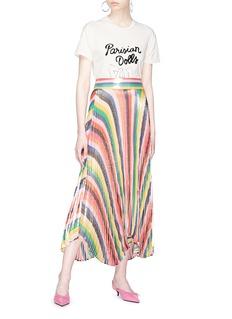 alice + olivia 'Katz' sunburst pleated stripe maxi skirt
