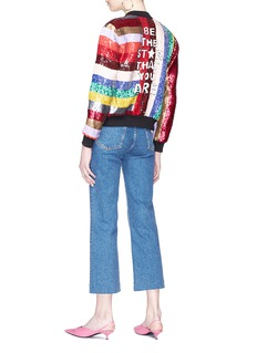 alice + olivia 'Lonnie' slogan stripe sequinned bomber jacket