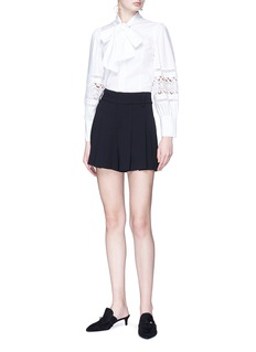 alice + olivia 'Alvina' pussybow guipure lace panel cropped poplin blouse