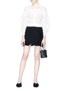 alice + olivia 'Lani' ruffle trim mock wrap mini skirt
