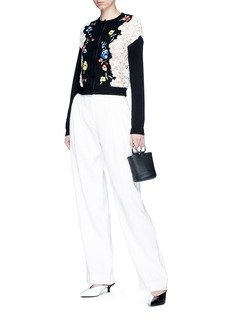 alice + olivia 'Leena' floral embroidered panel cardigan