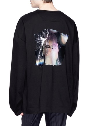 Back View - Click To Enlarge - Juun.J - Slogan embroidered photographic print long sleeve T-shirt