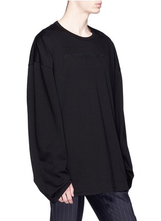 Front View - Click To Enlarge - Juun.J - Slogan embroidered photographic print long sleeve T-shirt