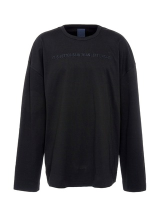 Main View - Click To Enlarge - Juun.J - Slogan embroidered photographic print long sleeve T-shirt