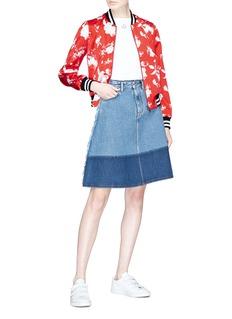 alice + olivia 'Lonnie' reversible floral print silk satin bomber jacket