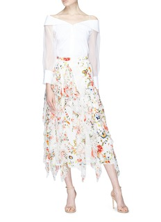 alice + olivia 'Yulia' lace godet ruffle floral print silk chiffon skirt