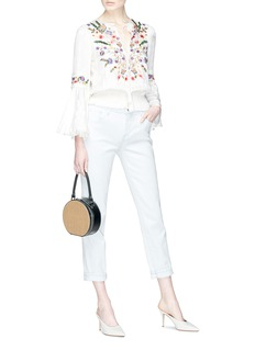 alice + olivia 'Kindra' floral embroidered bell sleeve top