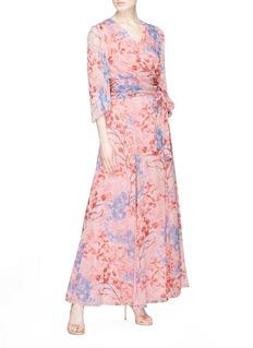 ALICE + OLIVIA x Lola Montes Schnabel Athena花瓣印花喇叭袖雪纺连衣裙