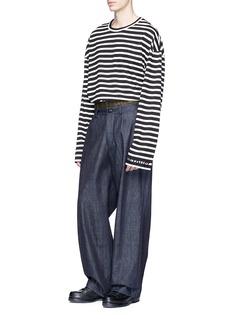 Juun.J Slogan embroidered stripe oversized knit long sleeve T-shirt