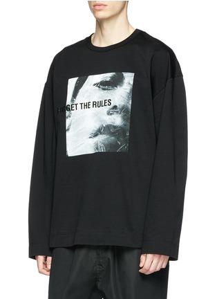 Front View - Click To Enlarge - Juun.J - Slogan photographic print sweatshirt