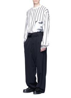 Juun.J Photographic print stripe poplin sweatshirt