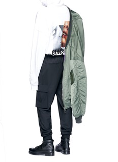 Juun.J Slogan embroidered photographic print hoodie