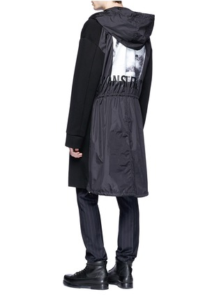 Back View - Click To Enlarge - Juun.J - 'Construct' slogan photographic print hooded coat