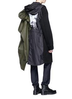 Juun.J 'Construct' slogan photographic print hooded coat