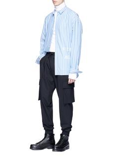 Juun.J Slogan embroidered stripe shirt
