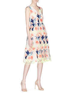 alice + olivia 'Becca' hummingbird floral embroidered tulle dress