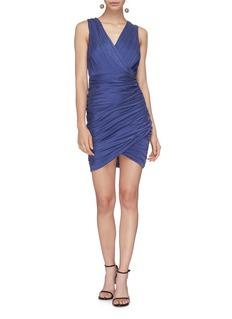 alice + olivia 'Damia' ruched silk mini dress
