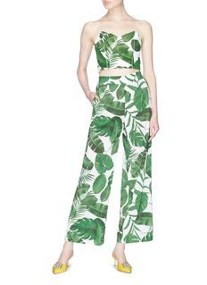 alice + olivia 'Benny' palm leaf print crepe wide leg pants