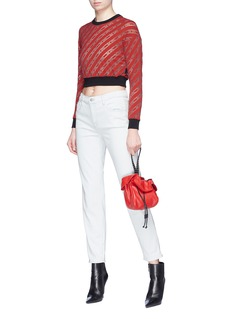 GCDS Logo stripe devoré velvet cropped top