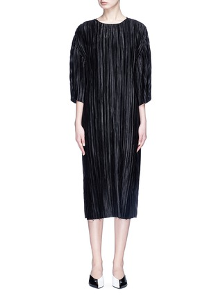 Main View - Click To Enlarge - YCH - Plissé pleated satin midi dress