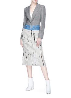 YCH Denim panel distressed midi skirt