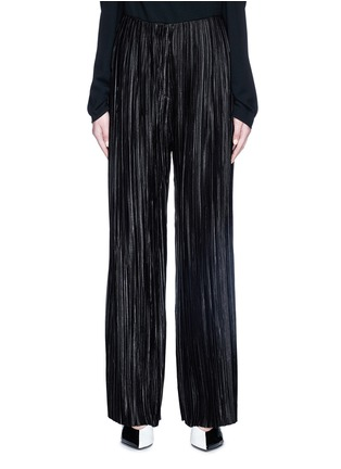 Main View - Click To Enlarge - YCH - Plissé pleated satin wide leg pants
