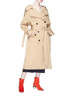 YCH Buckled plunge back belted oversized trench coat
