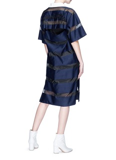 YCH Slogan embroidered split back stripe organdy polo dress