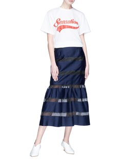 YCH Stripe organdy fishtail maxi skirt